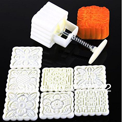 Hand Pressing 125g Square Moon Cake Mold Belt 7 Motif Pastry Moon Cake Mold by unbrand (Image #2)