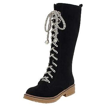 504e1f5d9546 Damen Stiefel   Warm Gefüttert   Bequeme Langschaft Boots   Flache Zipper  Schnürstiefel Damenschuhe Schnürstiefel Blockabsatz