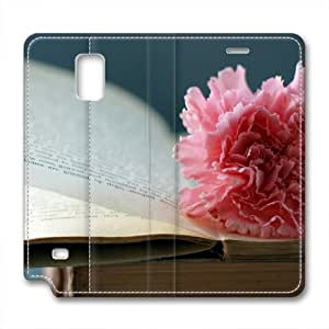 Enjoy happy life Samsung Galaxy Note 4 leather Cases,Carnations Custom Samsung Galaxy Note 4 High-grade leather Cases