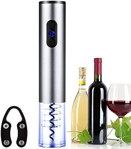 Ozeri Nouveaux II Electric Wine Opener in Black, with Foil Cutter, Wine Pourer and Stopper