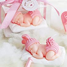 Adorable Mini Baby Birthday Candle Christening Baby Shower Favors Attached with Greeting Card (Pink) Cake Topper Party Decoration