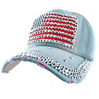 Elonmo Cute Usa Flag Baseball Cap Jewel Rhinestone Bling Hats Jeans