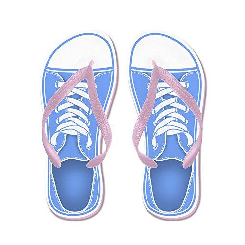 Cafepress Blå Sneaker - Flip Flops, Roliga Rem Sandaler, Strand Sandaler Rosa