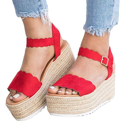 (Syktkmx Womens Platform Wedge SandalsSummer Heeled Ankle Strap Espadrilles)