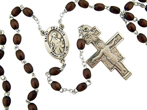 (Boxwood Bead Saint Francis Rosary with Sterling Silver Center and Crucifix, 21 Inch)
