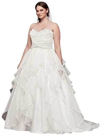 David\'s Bridal Lace and Organza Plus Size Ball Gown Wedding Dress ...
