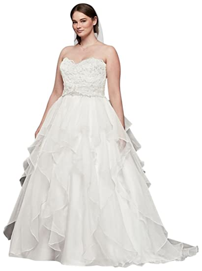 Davids Bridal Lace And Organza Plus Size Ball Gown Wedding Dress