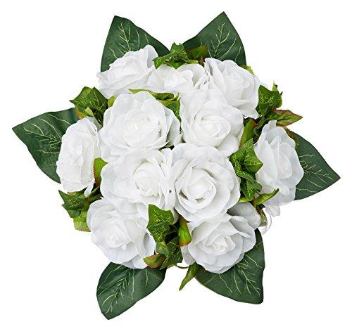 White Silk Rose Nosegay - Silk Bridal Wedding Bouquet