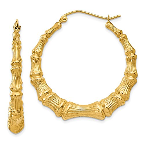 14kt Yellow Gold Polished Bamboo Hoop ()
