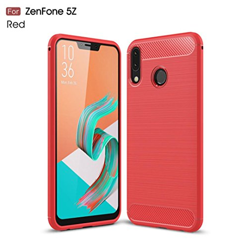 MChoice Thin Carbon Fibre Soft Protection Case Silicone Gel Cover for Asus Zenfone 5/5Z ZE620KL (Red)