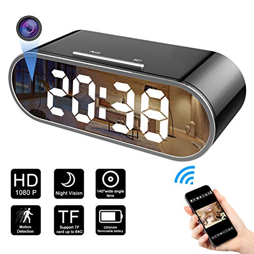 Mini Spy Camera Wireless Hidden Camera Clock Camera HD 1080P Nanny Cam Small Surveillance Camera,WiFi Remote Camera 12 IR Lights Night Vision Camera Viewing Via App, 140 Degree Wide-Angle Lens