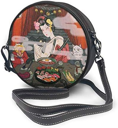 丸型ショルダーバッグ うきよえ PUレザー 小さめ 人気 取り外し可能 軽量 可愛い レディース ミニバッグ クロスボディバッグ