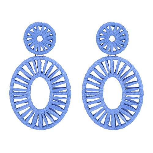 Blue Raffia Drop Earrings Statement Boho Earrings Dangle Geometric Round Earrings for Women Girl Gift Jewelry