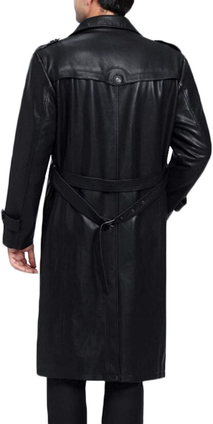 chaqueta cortavientos de la chaqueta de cuero de la manera del negocio a prueba de viento y caliente en oto/ño e invierno Capa larga de la ropa de cuero de los hombres Color : NEGRO , Tama/ño : L