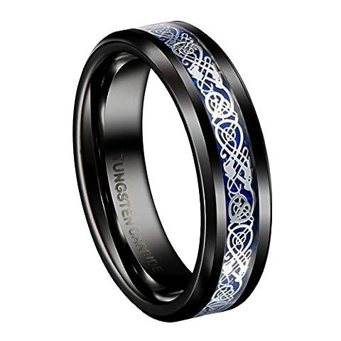 Queenwish 6mm Black Tungsten Carbide Ring Silvering Celtic Dragon Blue Carbon Fibre Wedding Band Size 7