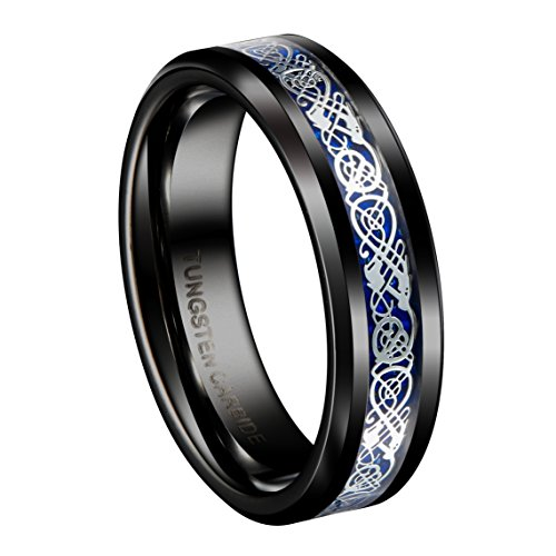 Queenwish 6mm Black Tungsten Carbide Ring Silvering Celtic Dragon Blue Carbon Fibre Wedding Band Size (Palladium Celtic Ring)