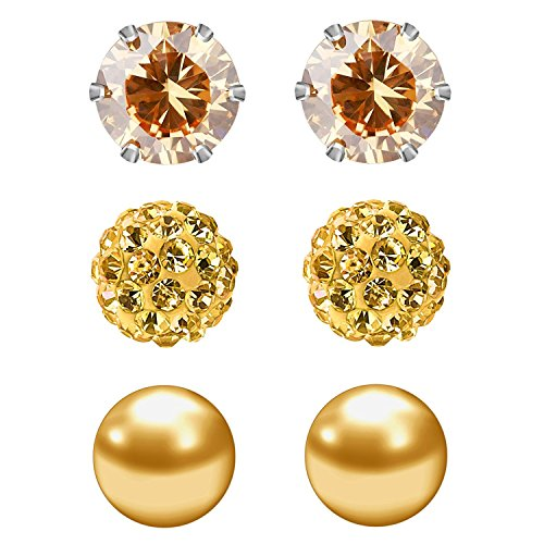 - JewelrieShop Champagne Studs Earrings for Women CZ Rhinestones Crystal Ball Fake Pearl Stainless Steel Party Stud June Birthstone Earring Set for Toddler Girl (3 pairs,6mm Round,June)