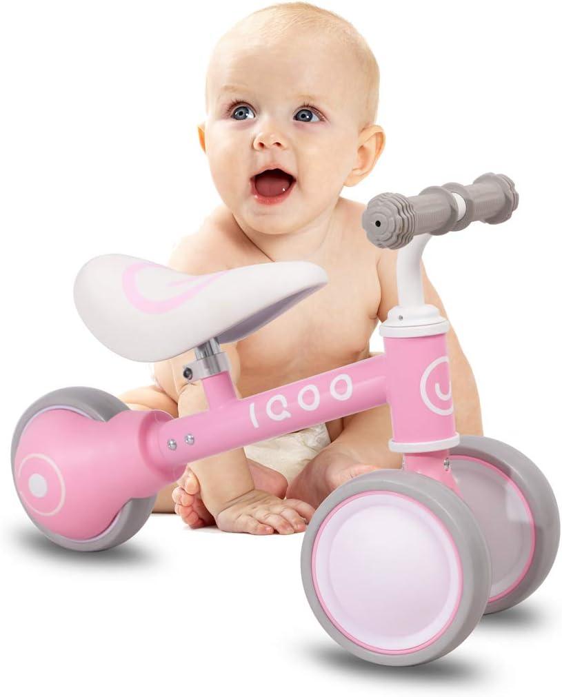 HILAND IQOO - Bicicleta Infantil para niños y niñas, 1 2 o 3 años, Color Rosa