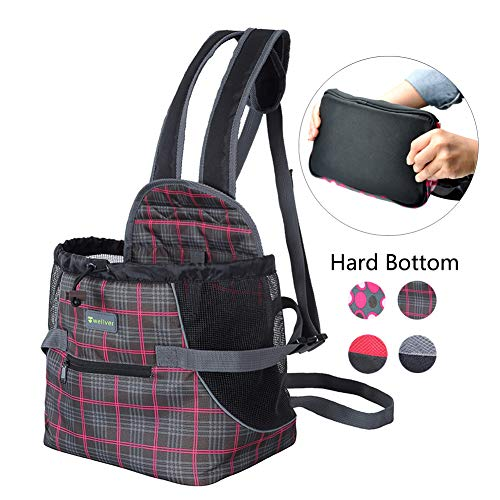 (Wellver Dog Carriers Front Pack Pet Backpack Carrier for Small Dogs Cats with Hard Bottom,Small)