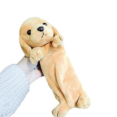 Estuche para lápices, 1 bolsa de almacenamiento de bolígrafo de peluche suave para perro, bolsa de almacenamiento con cremallera, funda de papelería para estudiantes - lujoso Golden Retriever: Oficina y papelería