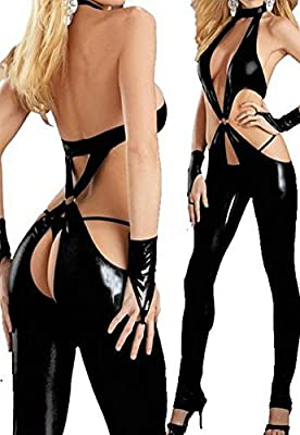 Ladies Sexy Wet Look PU Leather Jumpsuit Cosplay Clubwear Nightclub Lingerie