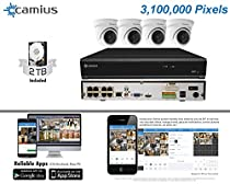 Camius 3MP IP PoE Security Camera System: 2TB 4K 8-Channel NVR+ 4 3MP IP Dome Cameras, compatible with PC & Mac (NVR & Camera PoE enabled, high speed 60Mbps bandwidth, 4K HDMI/VGA)