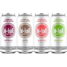 Hiball Energy Sparkling Water, Vanilla, Wild Berry, Grapefruit, and Lemon Lime, Variety Pack, 16 Ounce, (Pack of 12)