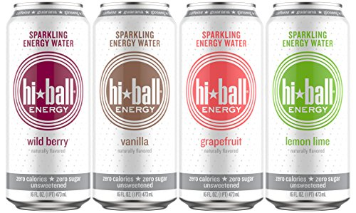 - Hiball Energy Sparkling Water, Vanilla, Wild Berry, Grapefruit, and Lemon Lime, Variety Pack, 16 Ounce, (Pack of 12)