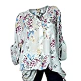 naivety Autumn Winter Plus Size V-Neck Floral Print Long Sleeve Blouse Pullover Shirt Tunic Women's Large
