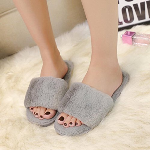Slipper Sandal Fuzzy Flops Flat Flat Slipper Women Girls Gray Faux Inkach Stylish Flip Slip On Shoes Fur Slide Yqww6x8Zg