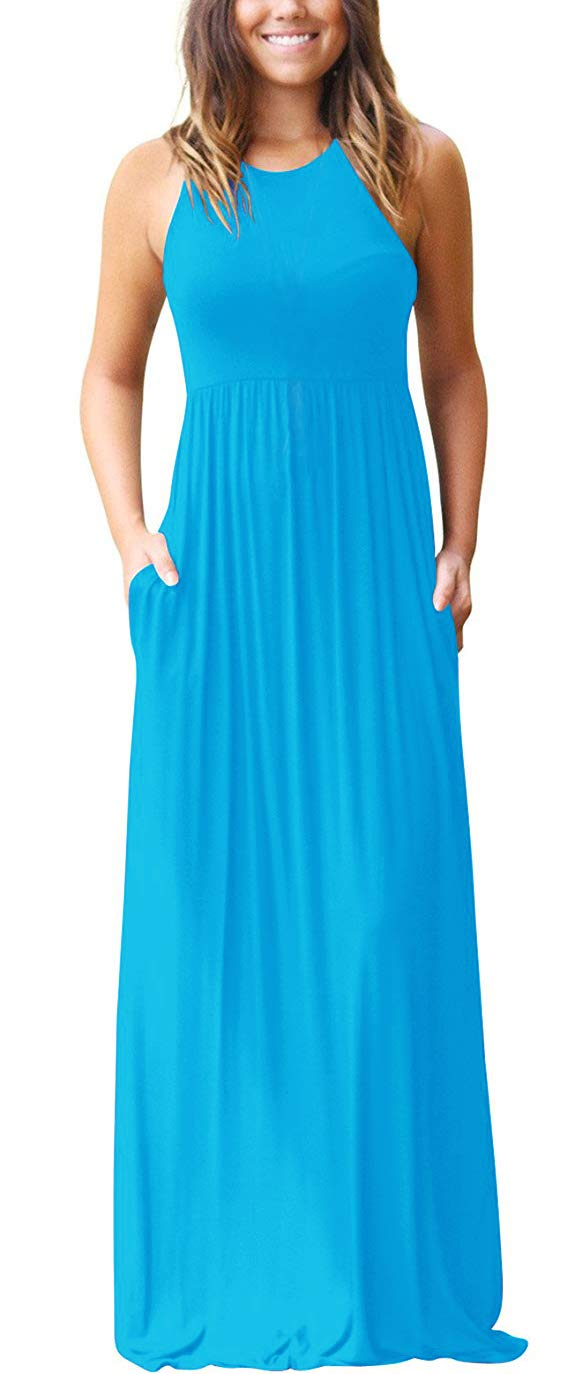 2ae4aef5794f Galleon - GRECERELLE Women's Sleeveless Racerback Loose Plain Maxi Dresses  Casual Long Dresses With Pockets Nile Blue-M