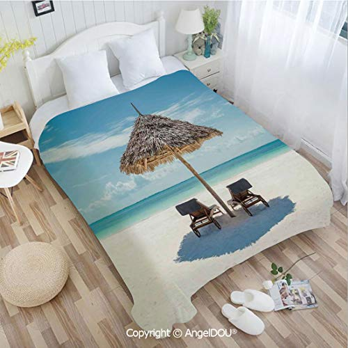 (AngelDOU Printed Blanket Soft Quilt Bed Throws W55 xL72 Wooden Sun Loungers Facing Eastern Ocean Under a Thatched Umbrella in Zanzibar Bed Cover Air Condition Blankets.)