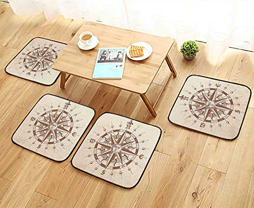 Leighhome Home Chair Set Old Compass Rose with A Sun Face Lady On It Instrument Distances Between Machine-Washable W21.5 x L21.5/4PCS Set ()
