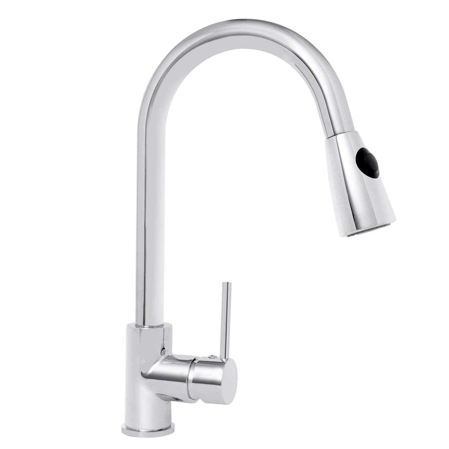 KAIMA Pull Down Sprayer Kitchen Faucet Single Handle Sport-Free Brass  Chrome Finished