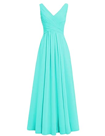6760c4c105e Neggcy Women Chiffon Long Bridesmaid Dresses V-Neck Simple Wedding Prom  Evening Gowns Aqua US2