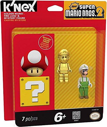 K'NEX 38867 Golden Mario and Fire Luigi Mystery Figures (Trophy Figure Gold)