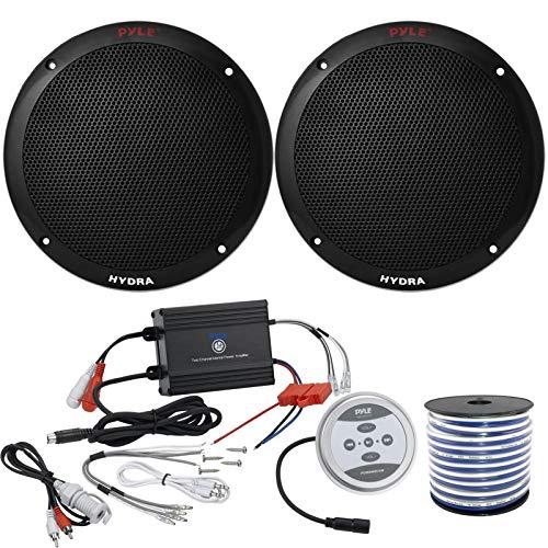 2 x Pyle 6.5'' Dual Cone 400 Watt Black Marine Speakers, Pyle Waterproof 600 Watt Bluetooth 2-Channel Boat Yacht Amplifier System, Enrock Marine-Grade 18-Gauge Speaker Wire