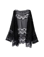 Lowpricenice(TM)Women Lace Splicing Hollow Chiffon Kimono Cardigan Blouse Coat Tops (L)