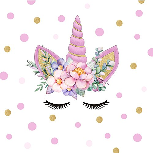 DCTOP Unicorn Angel Flower Wall Decal Polka Dot Eyebrow Wall Sticker  Colorful Fairytale Wall Art Unicorn