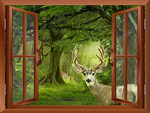 Deers in a Mystical Forest outside of an Open Window Removable Wall Sticker Wall Mural
