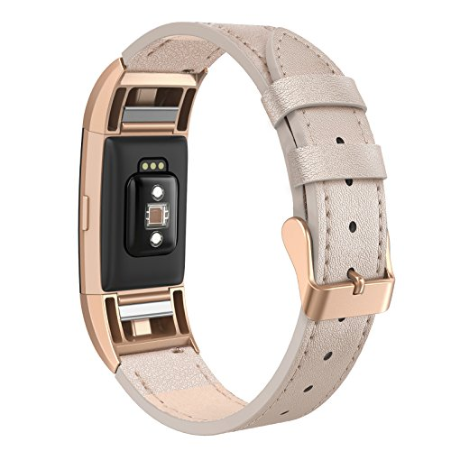 SWEES Leather Bands Compatible Charge 2 Small (5.6 - 7.5), Genuine Leather Replacement Wristband with Metal Connectors for Women, Black, Beige, Brown, Grey, Rose Gold, Champagne
