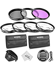 Neewer 49mm Lens Filter y Close-up Macro Kit para Sony A3000 DSLR y NEX Series Cámaras, incluye kit de filtros (UV, CPL, FLD), Macro Close-Up Set, bolsa, parasol, tapa del objetivo con correa