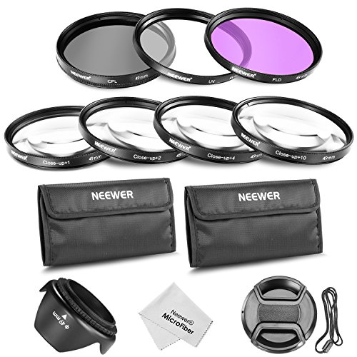 Neewer49MM Professional Lens Filter and Close-up Macro Accessory Kit for SONY Alpha A3000 DSLR and NEX Series (NEX-3 NEX-5N NEX-7 NEX-F3) Cameras with 18-55mm and 55-210mm Lenses- Includes Filter Kit (UV, CPL, FLD) + Macro Close-Up Set (+1, +2, +4, +10)+ Filter Carrying Pouch + Tulip Flower Lens Hood + Center Pinch Lens Cap with Cap Keeper Leash (Nex Lens Filter)