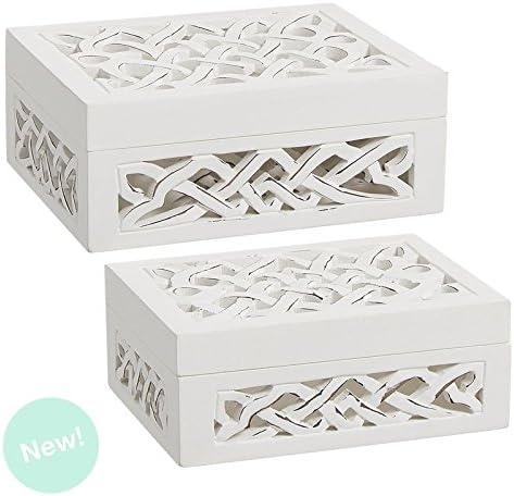 Dcasa - Cajas madera blanco tallada rectangular: Amazon.es: Hogar
