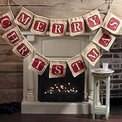 Amazon.com: NUOLUX cartel Feliz Navidad de arpillera de yute ...