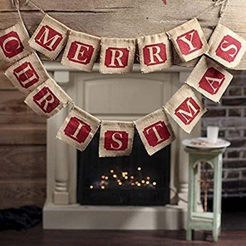 GOER Merry Christmas Burlap Banners Garlands for Xmas Party Decoration Photo Prop (Classic)