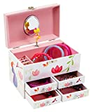 JewelKeeper Princess and Flowers Large Musical Jewelry Storage Box with 4 Pullout Drawers, Girl's Jewel Box, Beautiful Dreamer Tune