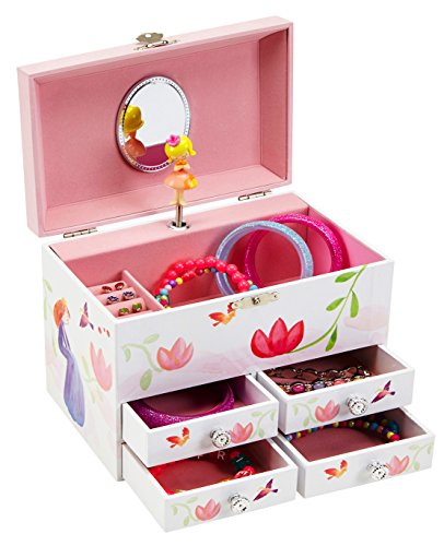 JewelKeeper Princess and Flowers Large Musical Jewelry Storage Box with 4 Pullout Drawers, Girl