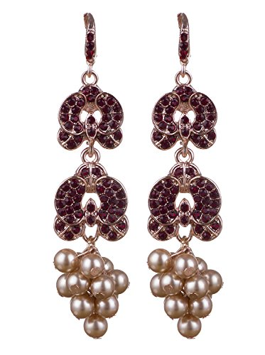 Vijiv Womens Gatsby Earrings Gold Pearls For Bridal Prom Wedding Party Evening Dresses,Gold Red,One (Pearl Red Gold Earrings)