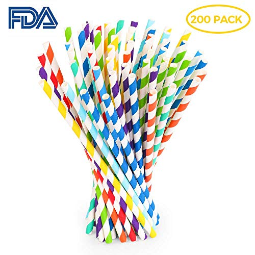 Biodegradable Paper Straws, 8 Different Assorted Colors Rainbow Striped Drinking Straws, Final Straw, Environment Friendly Disposable Straws for Juice, Decorations and Celebrations Party Supplies